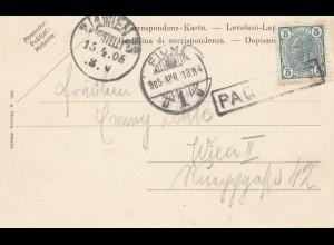 Fiume: 1905: Ansichtskarte Abbazia nach Wien