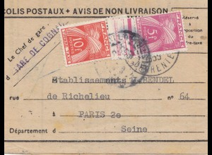 Frankreich: 1955: Avis de non Livraison: SNCF Gare Cognac nach Paris