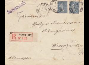 Frankreich: 1923: Einschreiben Paris nach Dresden