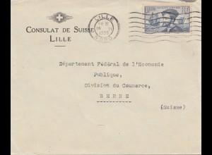 Frankreich: 1935: Consulat Suisse in Lille nach Bern