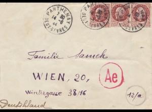 Frankreich: 1944: Parthenay nach Wien: OKW Zensur Ae