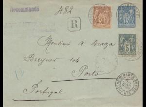 Frankreich: 1897: Ganzsache Einschreiben Fresne St. Mames nach Portugal