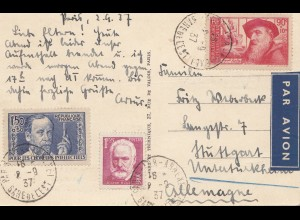 Frankreich: 1937: Ansichtskarte Pris als Luftpost nach Stuttgart