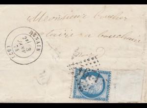 Frankreich: 1874: Denain nach Bouchain: Marke mit Rand !!!