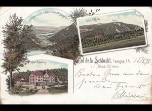 Frankreich: 1898: Ansichtskarte Col de la Schlucht nach Leipzig