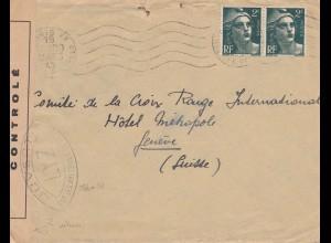 Frankreich: 1945: Paris nach Genf - Rotes Kreuz - Zensur