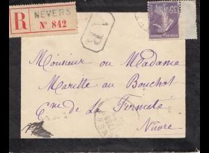 Frankreich: 1915: Einschreiben Nevres