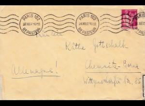 Frankreich: 1937: Paris nach Chemnitz - Zoll Öffnung