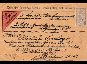Frankreich: 1912: Nachnahme Kaiserlich Deutsche Konsulat Paris nach Berlin