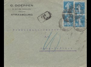 Frankreich: 1925 Strasbourg nach Gera - Taxe