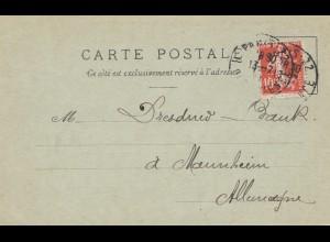 Frankreich: 1911: Carte Postale Paris nach Mannheim - Perfin