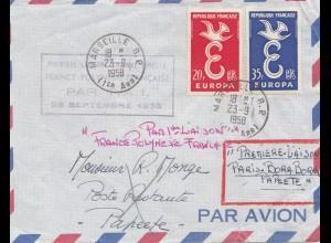 Frankreich: 1958: Luftpost Marselle nach Papeete