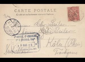 Frankreich: 1903: Carte Postale Nice nach Köln