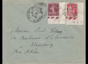 Frankreich: 1937: Brief nach Strasbourg - Druckdatum !!!