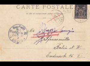Frankreich:1901: Ansichtskarte nach Berlin