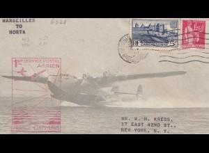 Frankreich:1939: Flugpost Marseille nach Horta - USA