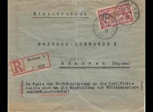 Frankreich:1922: Einschreiben Mulhouse nach München: Bezirks-Kommando I