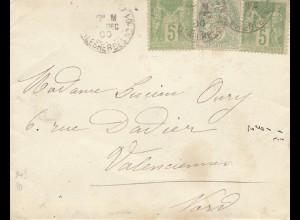Frankreich:1900: Brief nach Valenciennes
