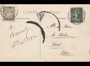 Frankreich:1920: Ansichtskarte Biarritz - Taxe