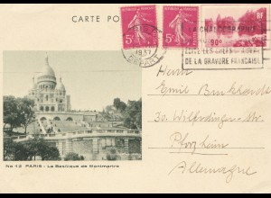 Frankreich: 1937: Ganzsache Paris nach Pforzheim