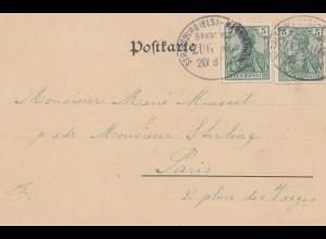 Frankreich: 1901: Bahnpost Strasburg-Markholsheim nach Paris