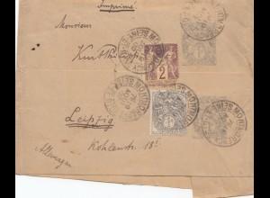 Frankreich: 1902 Streifband von Paris nach Leipzig - Drucksache