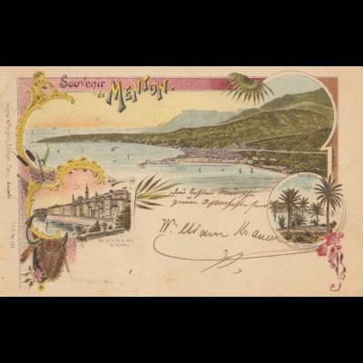 Frankreich: 1898: Ansichtskarte Menton nach Deutschland