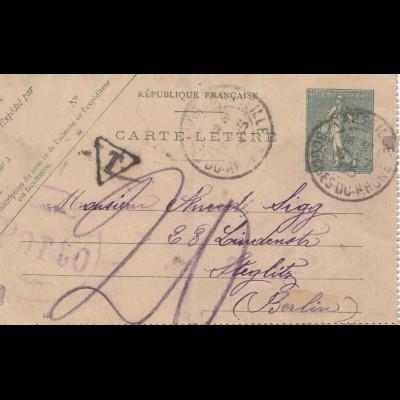 Frankreich: 1905: Brief / Ganzsache nach Steglitz