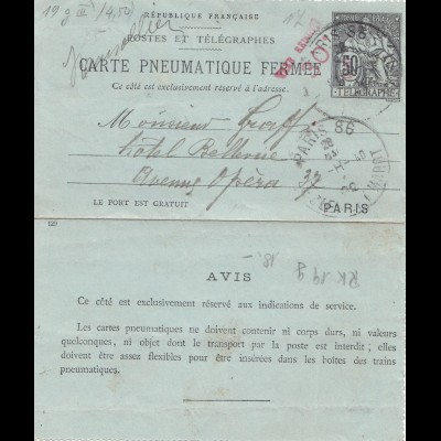 Frankreich: 1902: Ganzsache R 19g - Paris