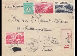 Frankreich: 1948: Einschreiben Dole nach Basel/Schweiz