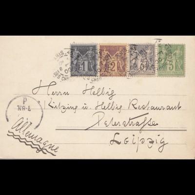 Frankreich: 1900: Ansichtskarte Paris nach Leipzig