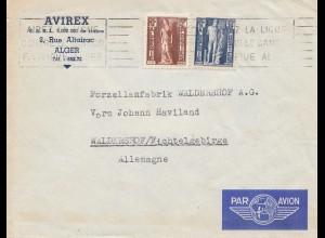 Frankreich: Brief von Alger nach Waldershof/Deutschland