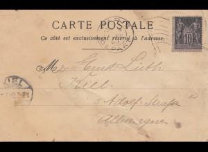 Frankreich: 1900: Ansichtskarte Paris nach Kiel