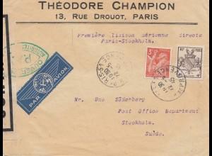 Frankreich: 1945: Paris als Luftpost nach Stockholm, geprüft -signiert