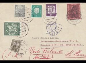 Frankreich: 1961: Brief aus Düsseldorf nach Le Havre