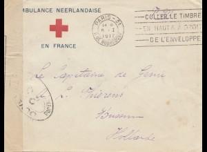 Frankreich:1917 Ambulance Nederlandaise en France -Paris-Niederlande Rotes Kreuz