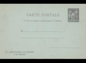 Frankreich: Ganzsache / Carte Postale avec reponse card