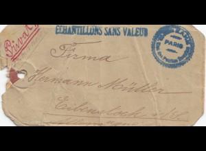 Frankreich: 1912: Paketanhänger von Paris nach Deutschland - Einschreiben