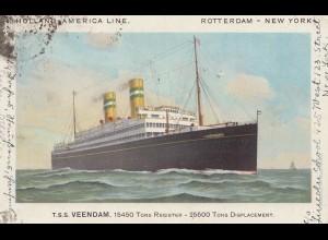 Frankreich: Ansichtskarte T.S.S Veendam Holland-America Line