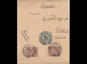 Frankreich: 1907: Streifband Enghien les Bains nach Leipzig
