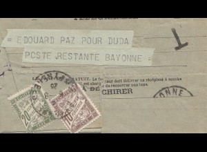 Frankreich: 1926: Telegramm Bayonne - Taxe