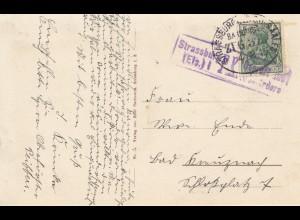 Frankreich: 1915: Ansichtskarte Schirmeck - BahnpoststempelStrasbourg-Saales
