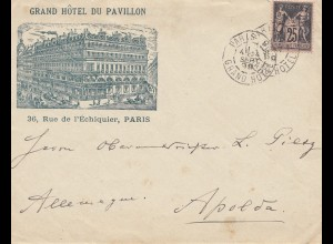 Frankreich: 1899: Grand Hotel du Pavillon Paris nach Apolda