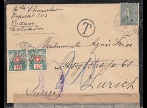Frankreich: 1919: Caen nach Zürich - Taxe
