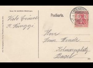 Frankreich: 1908: Ansichtskarte Mühlhausen nach Basel