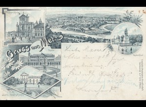 Frankreich: 1907: Ansichtskarte aus Metz nach Gunzenhausen
