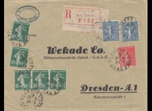 Frankreich: 1927: Flers nach Dresden als Einschreiben