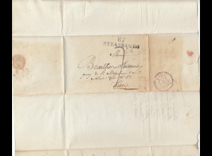 Frankreich: 1824: Strasbourg - Tax Vermerk nach Paris
