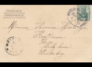 Frankreich: 1903: Ansichtskarte mit Bahnpost Strassburg Avricourt
