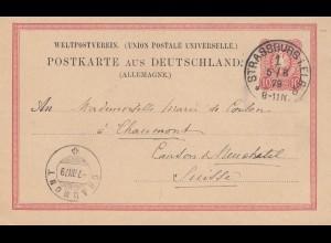 Frankreich: 1879: Ganzsache Strassburg in die Schweiz